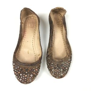 Frye Brown Studded Distressed Leather Ballet Flat